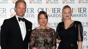 Nicola Walker with presenters Romola Garai (R) and Rupert Penry Jones (l)