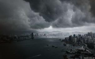 Clouds build up over Victoria Harbour in Hong Kong