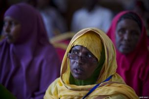 Health care workers listen to a presentation at the launch of the new pentavalent vaccine, Somalia