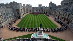 Windsor Castle during a ceremonial welcome for the president of the UAE.
