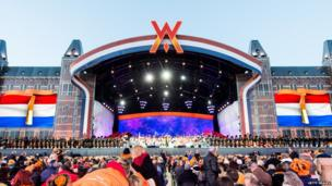 General view of the stage as Andre Rieu performs in Amsterdam