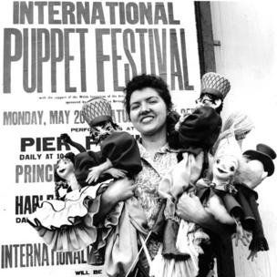Festival winner Jane Phillips with some of her puppets