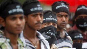 Workers protest in Dhaka, Bangladesh, 1 May 2013.