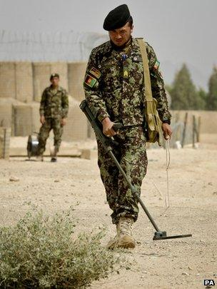 Sgt Abdullah Rezai, of the Afghan National Army, has finished his bomb disposal training