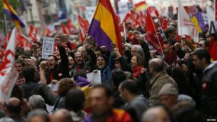 Labour Day rally against austerity, in Madrid, Spain, 1 May