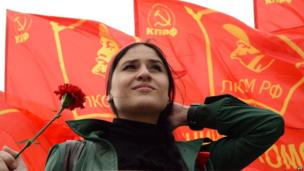 Russian communist party activist during the traditional May Day rally in Moscow on May 1, 2013