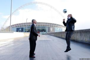 Football Legends Ricky Villa and Ossie Ardiles formerly of Tottenham Hotspur and Argentina have a kickabout on Wembley Way