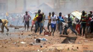 Guinea's opposition supporters clash with police forces