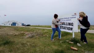 Poll Clerk Amelia Hetterley (left) and Presiding Officer Sue Bunney, set up their polling station at Dungeness Lifeboat Station in Kent