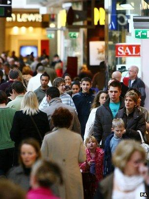 Shoppers in the Bluewater shopping centre, Kent