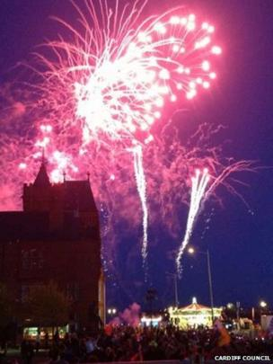 Fireworks over Cardiff Bay at the end of the celebrations