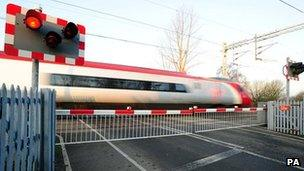 General view of level crossing at Wedgwood train station in Stoke-on-Trent, Staffordshire.