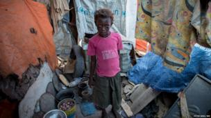 A children in a house in a camp for displaced people in Mogadishu, Somalia