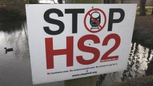 HS2 protest sign in Little Missenden, south-west England, January 9, 2012