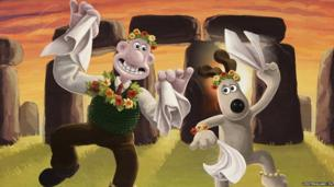 Wallace and Gromit Morris dancing at Stonehenge.