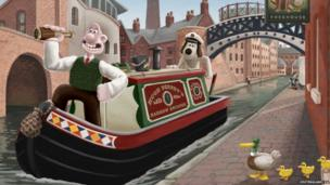 Wallace and Gromit enjoying a canal boat trip in Birmingham.