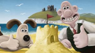Wallace and Gromit at the seaside.