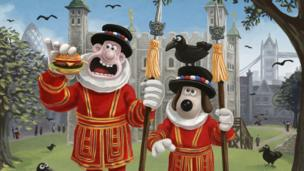 Wallace and Gromit as Beefeaters at the Tower of London.