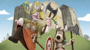 Wallace and Gromit dressed as Vikings at York Castle.