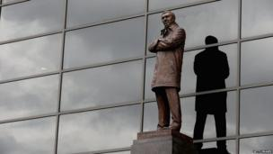 The bronze statue of Manchester United manager Sir Alex Ferguson