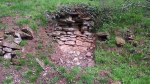 Uncovered ruins at Hagley Hall, Worcestershire