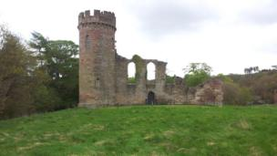 Ruined castle at Hagley Hall, Worcestershire