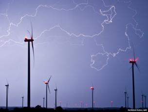 Lightning illuminates the sky