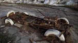 Ruins of a car in Epecuen, Argentina, on 7 May 2013
