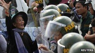 File photo: Protest in the Cambodian capital of Phnom Penh over eviction from land