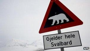 A sign in Sweden warns of polar bears