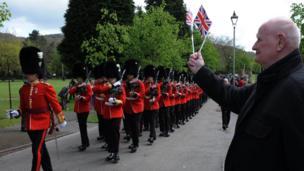 Welsh Guards in Ynysangharad War Memorial Park