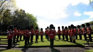 Welsh Guards on ceremonial parade
