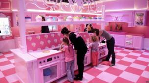 Kitchen in the Barbie Dreamhouse Experience near Alexanderplatz square in Berlin, 16 May 2013
