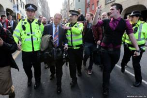 UKIP leader Nigel Farage with Police