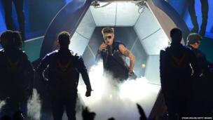 Musician Justin Bieber on stage