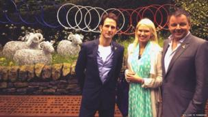 Anneka Rice with Alistair Baldwin (garden designer, left) and Peter Dodd (Welcome to Yorkshire, right)
