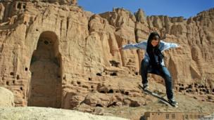 Fundraising co-ordinator Erika skating in Bamiyan, July 2010