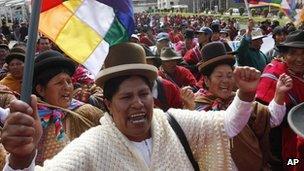Indigenous women cheering