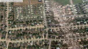 Before and after image of homes near South Eastern Avenue