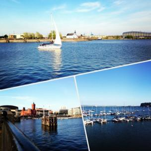 Three images of Cardiff Bay
