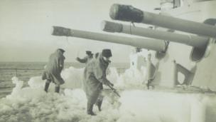 Ice was a significant problem for the ship's crew since its weight could capsize the vessel if it wasn't chipped off.
