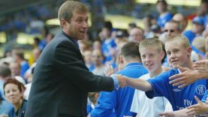 Roman Abramovich meets the fans during the Premiership match between Chelsea and Leicester City at Stamford Bridge on 23 August, 2003