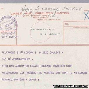 Telegram erroneously reporting abdication