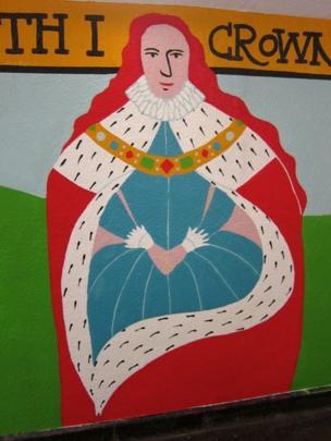 Rosemary Cunningham mural showing Queen Elizabeth I