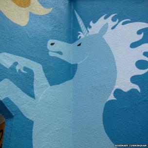 Rosemary Cunningham mural showing blue unicorn