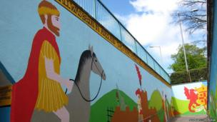 Rosemary Cunningham mural showing Roman soldiers