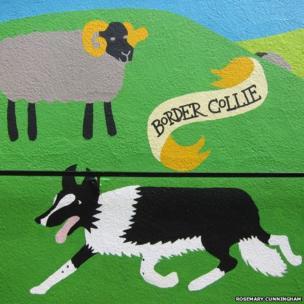 Rosemary Cunningham mural showing sheep and sheep dog