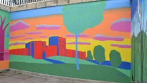 Paul Leith mural showing castle