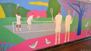 Paul Leith mural showing tennis players