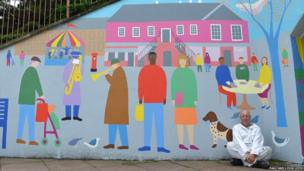 Paul Leith mural showing people and dog
